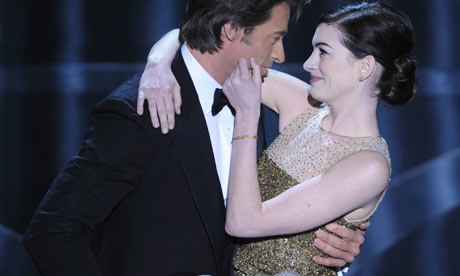 Hugh Jackman with Anne Hathaway in the opening number for the 2009 Oscars