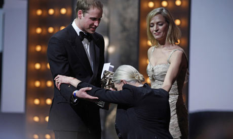 Vanessa Redgrave curtseys to Prince William at the Bafta awards