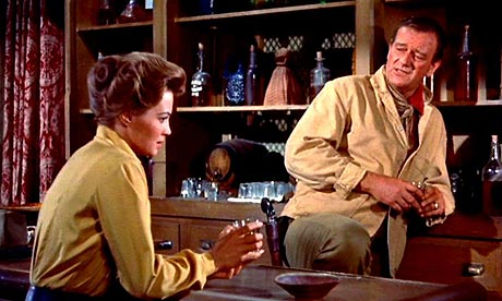 Setting the bar high … Angie Dickinson and John Wayne in Rio Bravo (1959)