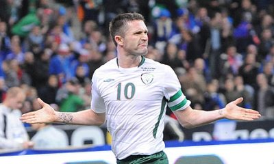 Robbie Keane celebrating after his goal
