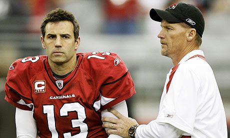 Kurt Warner and his Arizona Cardinals coach, Ken Whisenhunt, had cheerier expressions today (AP photo)