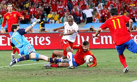 Switzerland's Gelson Fernandes scores against Spain