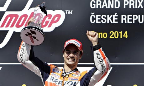 Dani Pedrosa celebrates winning the Czech Grand Prix in Brno on Sunday.