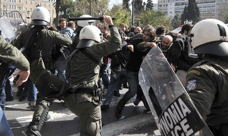 Greek riot police clash with protesters in Athens