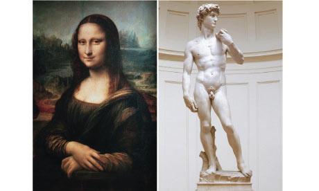 Leonardo's Mona Lisa and Michelangelo's David
