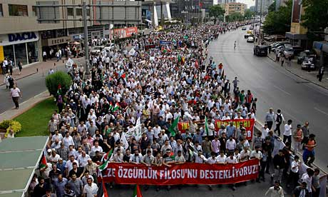 Protesters in Istanbul march over Israel's storming of Turkish boats bound for Gaza.