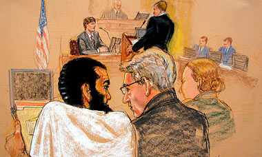Sketch of Omar Khadr (l) attends his pre-trial hearing at Guantanamo Bay.