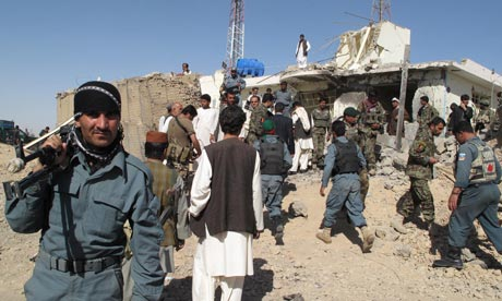 Afghanistan security forces at the scene of a suicide attack