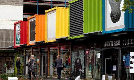 Shops built from shipping containers in Christchurch a year after the earthquake
