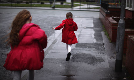 Children play in the streets of Gorton, Manchester