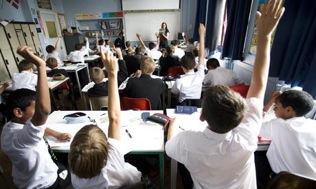 Schoolchildren in classroom