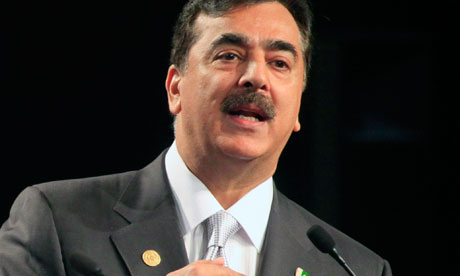 File photo of Pakistan's PM Gilani speaking during a news conference at CHOGM in Perth