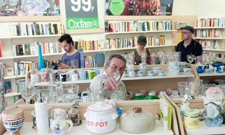 Customers in the Oxfam shop in Kingsland Road, London