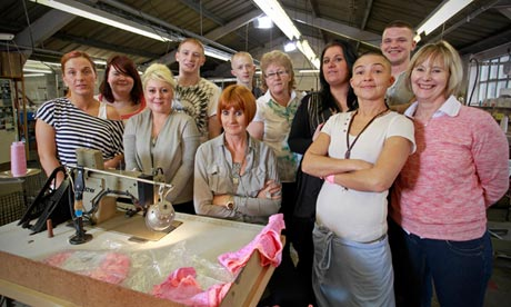 Mary Portas and employees at her lingerie factory near Manchester