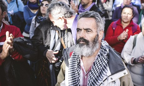 Juan Manuel Sánchez Gordillo, mayor of Marinaleda, attending a protest in Seville.