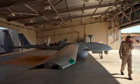 Heron unmanned drone in hangar