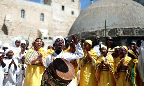 Easter celebrations outside the Ethiopian Orthodox church in Jerusalem