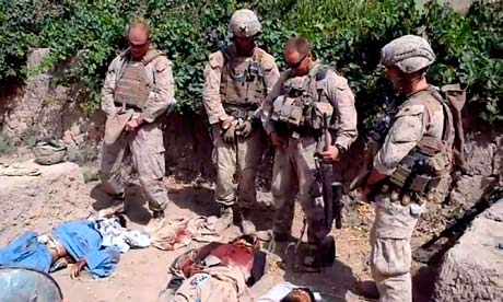 US Marines allegedly urinating on dead Taliban soldiers bodies