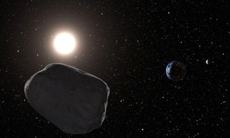Una imagen generada por ordenador de un asteroide cercano a la Tierra