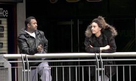 Leah Green staring at a man