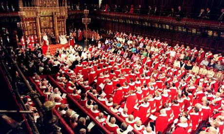Interior of the house of lords with lords sitting