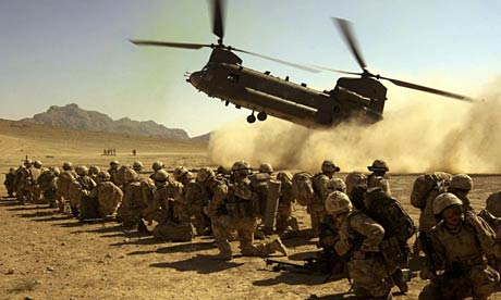 helicopter and army, in desert