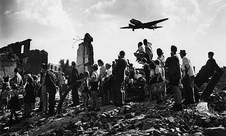 American planes flying into Berlin to steal rubble, typhus...the greedy bastards.