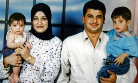 Baha Mousa with his wife and two children: the Iraqi hotel receptionist died in British custody in 2003. Photograph: Reuters