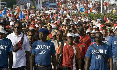 People demonstrate in Le Moule, Guadeloupe