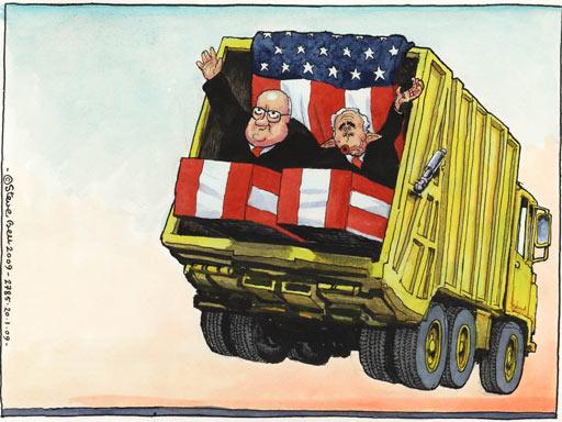 Steve Bell cartoon on Bush and Cheney