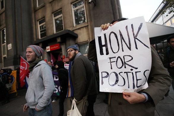 British striking mail workers' picket