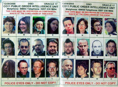 Activist Spotter Card used by UK Police