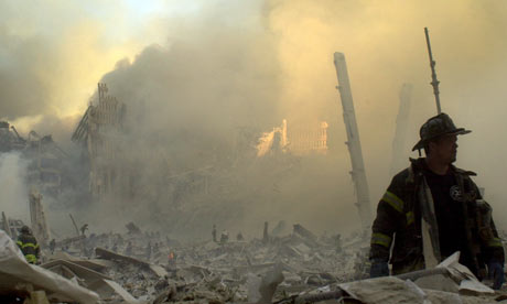 A firefighter at the site of the World Trade Centre in New York on September 11 2001
