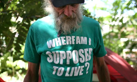 Homeless man in California
