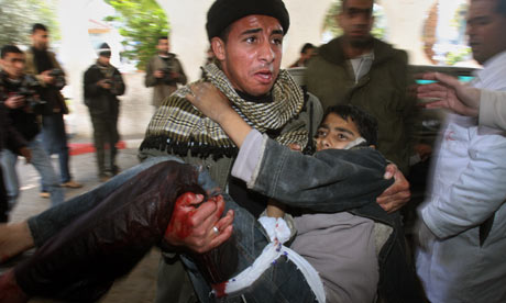 An injured Palestinian boy