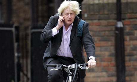 Boris Johnson mobile phone bicycle
