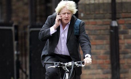 Boris Johnson mobile phone bicycle