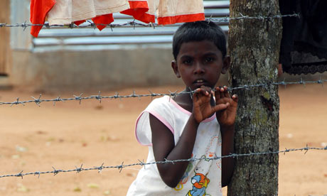 A Tamil boy in the Menikfam Vanni refugee camp, northern Sri Lanka