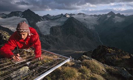 Climate change scientist : Daniela Hohenwallner at Mount Schrankogl, Austria