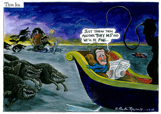 Martin Rowson cartoon on David Cameron and the expenses scandal