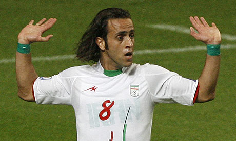Ali Karimi during Iran's World Cup qualifying match in South Korea