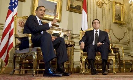 President Barack Obama meets Egyptian President Hosni Mubarak