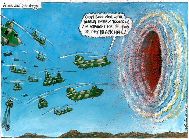 British helicopters in Afghanistan, cartoon by Martin Rowson