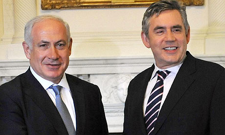 Benjamin Netanyahu and Gordon Brown at Downing Street