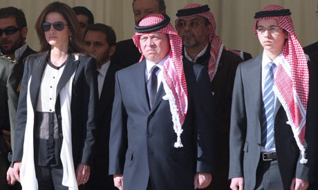 King Abdullah II of Jordan at the funeral for Captain Sharif Ali bin Zeid