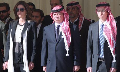 King Abdullah II of Jordan at the funeral for Captain Sharif Ali bin Zeid