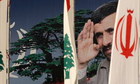 A poster of Mahmoud Ahmadinejad set up in Beirut for his visit