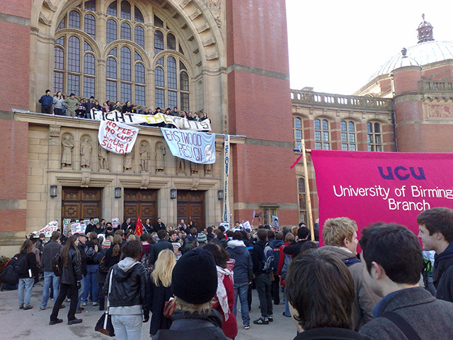 Pictures by students: Student protesters on the balcony of the Aston Webb building at Birmingham
