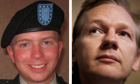 Bradley Manning, left, is accused of stealing classified files released by Julian Assange, right