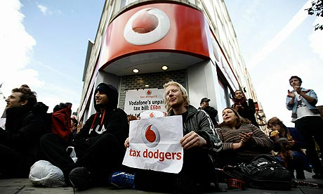 Vodafone tax avoidance demonstration with Won't Pay as They Go  banner